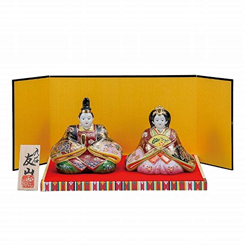 Jpanese traditional ceramic Kutani ware. Japanese girl's doll Hina ningyo. Golden Nishiki. With paper box. ktn-K5-1673