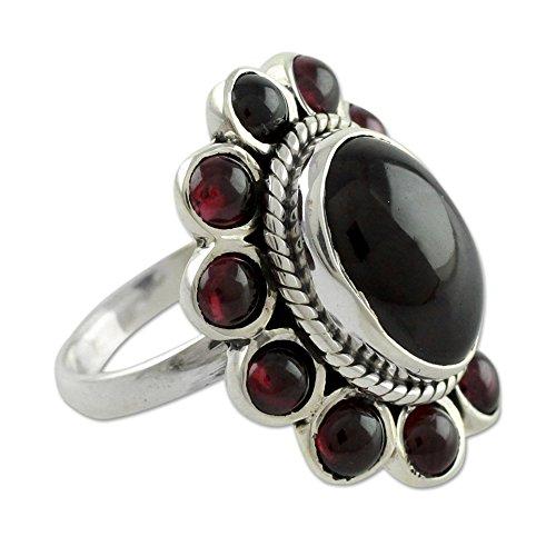 NOVICA Garnet .925 Sterling Silver Floral Ring, Scarlet Petals' ()