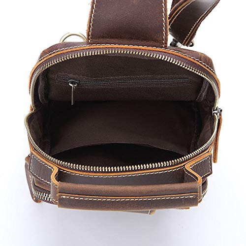 Portable Bags Crossbody Shoulder Men Genuine Brown For Movement color Chest Travel Brown Cycling Bag Leather Messenger Aihifly xq80THFT
