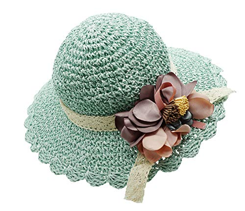 Bienvenu Kids Girl Summer Straw Hat with Flowers Beach Sun Protection Hats,Style2_Blue -