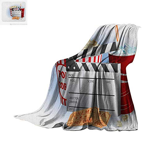 Luoiaax Movie Theater Digital Printing Blanket Soda Tickets Fresh Popcorn and Clapper Board Blockbuster Premiere Cinema Oversized Travel Throw Cover Blanket 60