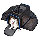 soft sided pet carrier - Pet Carrier, Airline Approved Soft Sided Pet Travel Carrier, 2 Side Expansion Soft Fleece Bed Storage Case for Small, Medium Size Cats Dogs up to 22 lbs, Black