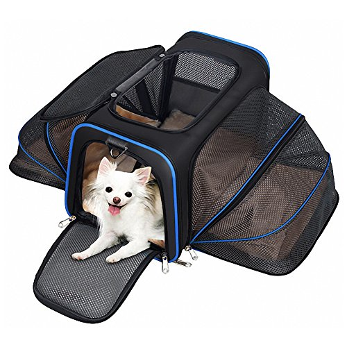 Expandable Pet Carrier for Dogs and Cats, Soft Sided & Most Airline Approved, Perfect Cat Carrier with Removable Fleece Mat