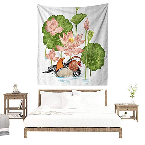 (alisoso Wall Tapestries Hippie,Duck,Baby Mandarin Duckling in Pond with Lotus Lily Flowers Water Painting Style Arsty Print,White Green Pink W47 x L47 inch Tapestry Wallpaper Home Decor )