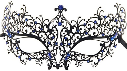 Venetian Luxury Style Metal Filigree Princess Black Masquerade Mask Blue Rhinestones (Feathered Masquerade Mask)