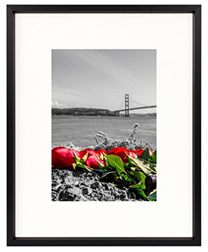 Frametory, 8x10 Table-Top Metal Picture Frame Collection, Aluminum Photo Frame with Ivory Color Mat for 5x7 Picture & Real Glass (Black)
