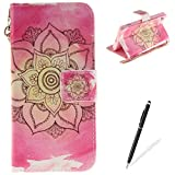 SONY Xperia Z2 Case,MAGQI Leather Case,Premium Slim PU Wallet Cover with Colorful Mandala Design Magnetic Folio Skin Shell for SONY Xperia Z2-Pink Mandala