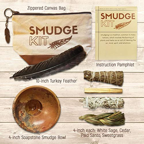 Smudging Kit | Travel Gift Set | For Beginners, Space Clearing, House Blessing | Palo Santo Stick, Cedar, White Sage Smudge Stick, Sweetgrass, Smudging Turkey Feather, Soapstone Smudge Bowl | Variety