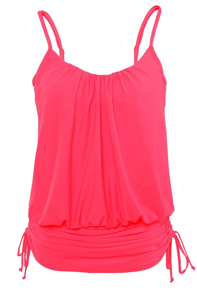 Nicetage Women's Straps Ruched Push up Swimsuit One Piece Swimwear 41982(Rose,XXL)