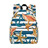 MAPOLO Summer Sea Shells Anchor On Striped Lightweight Travel School Backpack for Women Girls Teens Kids