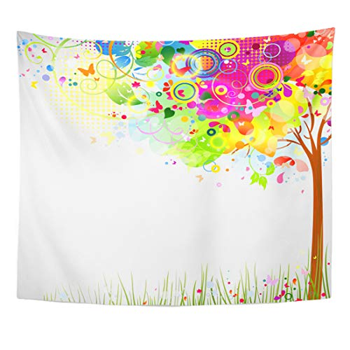 Emvency Tapestry August Colorful Rainbow Summer Composition with Multicolor Tree Green June Flower Home Decor Wall Hanging for Living Room Bedroom Dorm 60x80 Inches