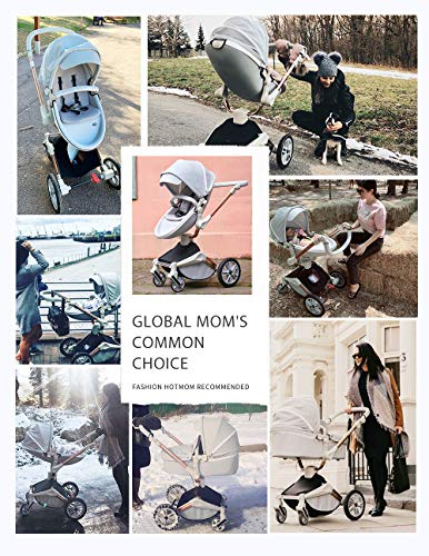 51RPJOjYzSL - Baby Stroller 360 Degree Rotation Function,Hot Mom Baby Carriage Pu Leather Pushchair Pram 2020,Grey