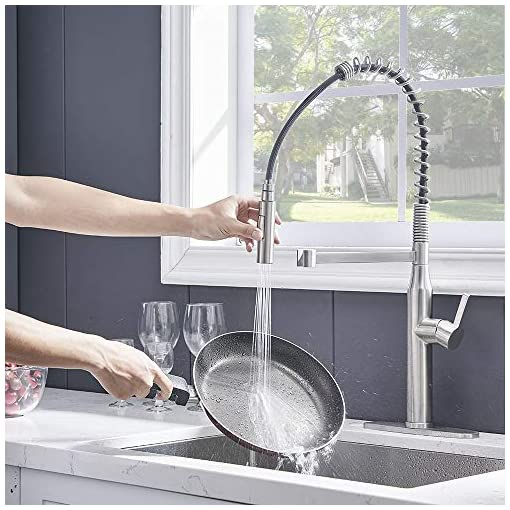 Farmhouse Kitchen Kitchen Faucet,Modern Kitchen Sink Faucet,Commercial Brushed Nickel Faucet,Farmhouse Pull Down Sprayer Sink Faucet… farmhouse sink faucets