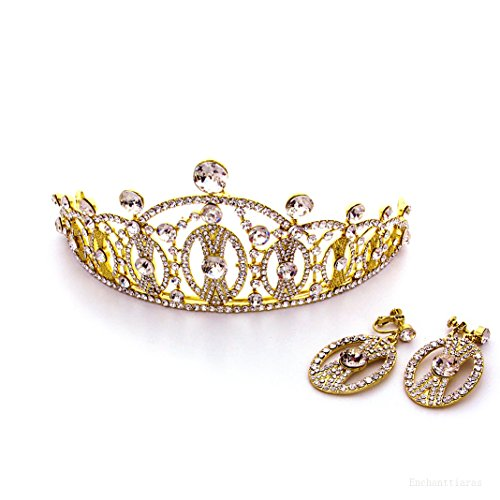 Tiara Crystal Chandelier - Timelessbride Ornate Royal Inspired Swarovski Crystal Tiara and Earrings Set, Gold Swirl Crown