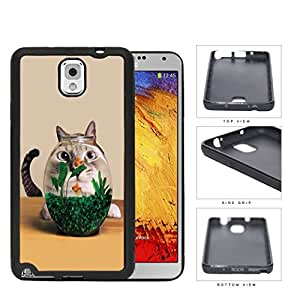 Curious Cat And Fish Bowl Rubber Silicone TPU Cell Phone Case Samsung Galaxy Note 3 III N9000 N9002 N9005