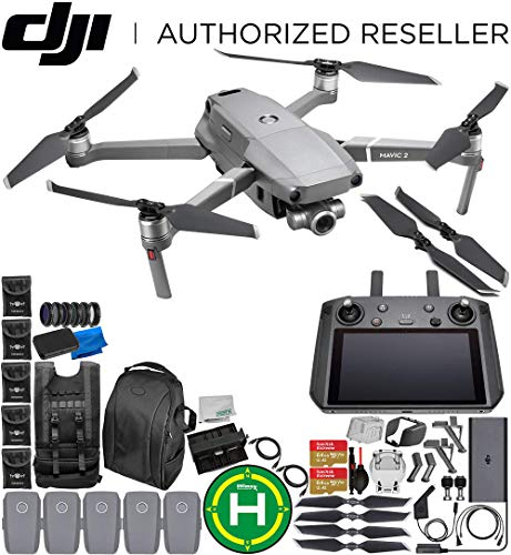 DJI Mavic 2 Zoom Drone Quadcopter with 24-48mm Optical Zoom Camera with Smart Controller Ultimate 5-Battery Bundle