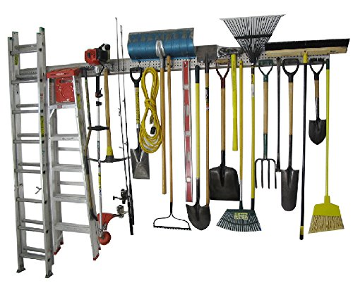 Holeyrail Garage Organizer Metal Pegboard Commercial Quality Industrial Strength Prefinished Steel Peg board 8 Feet total length Uses Standard Peg Hooks not included see our other listing