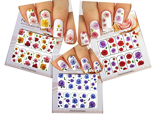 (Roses Nail Art Water Slide Tattoo Decals - 3 pack)