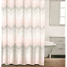 Caro Home 100% Cotton Shower Curtain Wide Stripes Chevron Fabric Shower Curtain Zig Zag White Taupe Grey Beige Gray Tweed Herringbone Design (Light Pink)