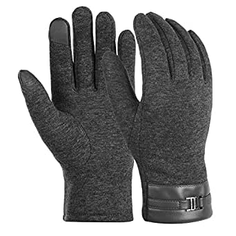 Vbiger Men Warm Gloves Winter Touch Screen Gloves Cold