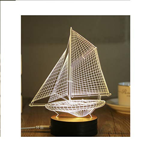 3D Night Light, Creative LED Bedside Lamp Wooden Table Lamp USB Powered Sailboat Pattern Children's Bed Lamp Suitable for Christmas, Birthday Gifts, Interior Decoration