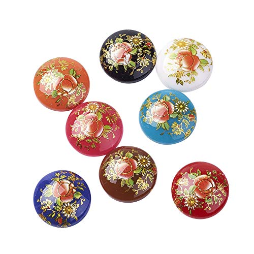 ARRICRAFT 10pcs Half Round/Dome Printed Glass Cabochons Black Color for Jewelry Making Beads Caps ()