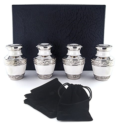 Cremation Keepsake (Small Cremation Urns for Human Ashes by Adera Dreams - Pearl White Mini Keepsake Urn Set of 4 - With Premium Case and Velvet Carrying Pouches - Miniature Memorial Funeral Urns for Sharing Ashes)