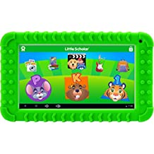 """School Zone Little Scholar Best Kids 7"""" Tablet, Ages 3-7, PreK-1st Grade, Bumper, Car Charger, Android, Quad-Core, 16 GB, Wi-Fi & Cameras, Green (08613)"""