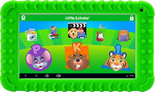 School Zone Little Scholar Best Kids 7'' Tablet, Ages 3-7, PreK-1st Grade, Bumper, Car Charger, Android, Quad-Core, 16 GB, Wi-Fi & Cameras, Green (08613) by School Zone