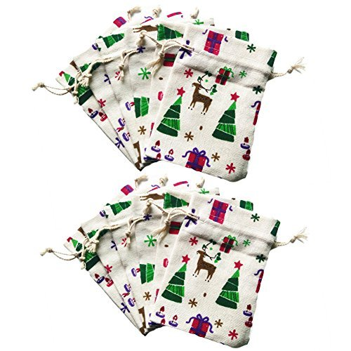 80Hou Natural Burlap Christmas Reindeer Wedding Party Gift Bag Mini Storage Bag Travel Pouch Jewelry Cute Sacks 12PCS