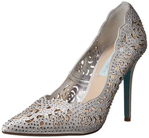 Blue by Betsey Johnson Women's SB-Elsa Dress Pump, Silver Fabric, 9 M US by Betsey Johnson