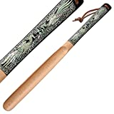 Mother of Pearl Inlay Art Double Phoenix Design 20 Inch Long Wooden Black Handled Shoe Horn Shoehorn with Leather String for Hanging