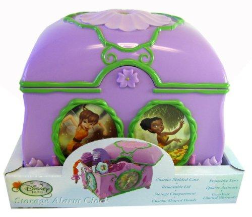 Disney Pruincess Tinker Bell Storage Alarm Clock - Fairy Jewelry Box & Clock