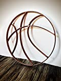 Rustic Hammered Copper Metal Basketball Wall Art Hanging - Boy's Sports Fan Themed Bedroom Nursery – Man Cave Decor