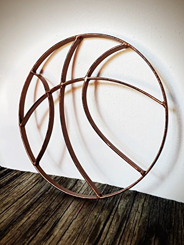 Rustic Hammered Copper Metal Basketball Wall Art Hanging - Boy's Sports Fan Themed Bedroom Nursery – Man Cave Decor (Hanging Sports Wall Fan)