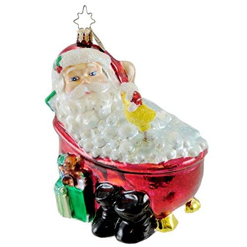 Christopher Radko TWAS THE NIGHT AFTER CHRISTMAS Blown Glass Ornament Christmas Santa Tub by Christopher Radko (Image #1)