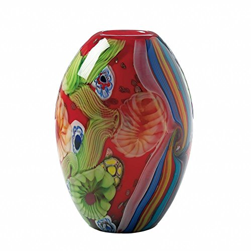 Accent Plus Vase Decor, Decorative Red Floral Nouveau Glass Round Vase Art