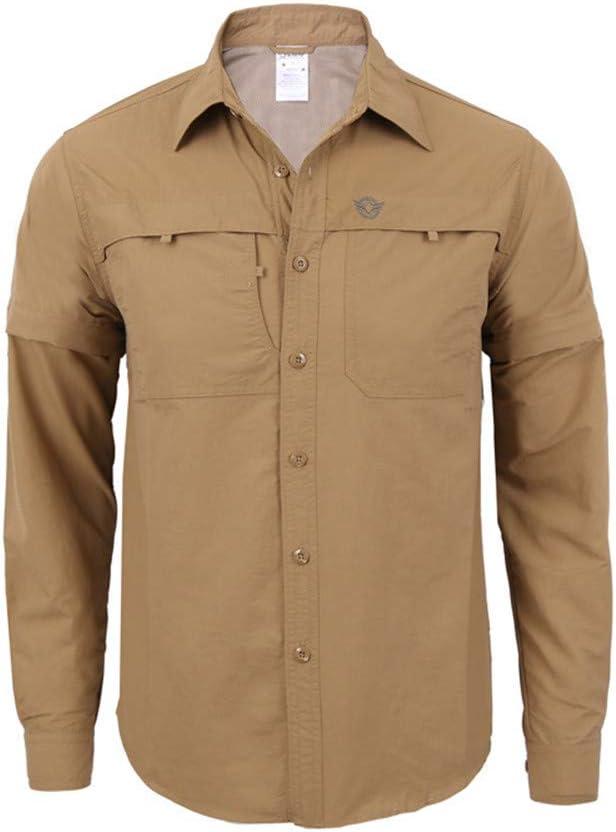 Camisa de Manga Larga de los Hombres descapotables Transpirables de Secado rápido para el Trabajo de Senderismo Protección Solar Militar (Color : Caqui, tamaño : L): Amazon.es: Deportes y aire libre