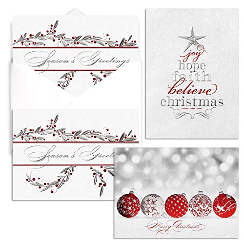 Festive for the Holidays Card Pack- Set of 36, 3 designs. 7 7/8 x 5 5/8 folded, verses inside. Foil embossed. Business or Corporate Christmas cards - White envelopes. Made in the USA.
