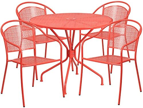 Brilliant Flash Furniture 35 25 Round Coral Indoor Outdoor Steel Patio Table Set With 4 Round Back Chairs Home Remodeling Inspirations Cosmcuboardxyz