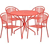 Flash Furniture 35.25'' Round Coral Indoor-Outdoor Steel Patio Table Set with 4 Round Back Chairs
