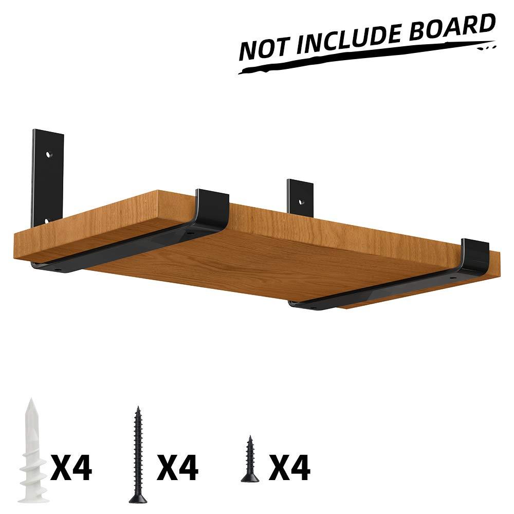 LuckIn Heavy Duty Shelf Bracket 12 inch, Rustic Black Wall Bracket for Floating Shelf, Forged Steel Shelf Bracket, 2 Pack