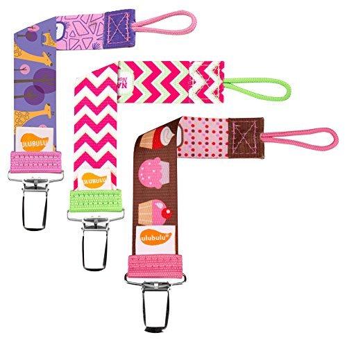Ulubulu Combo 3 Piece Pacifier Clips, Girls Candy Colors by
