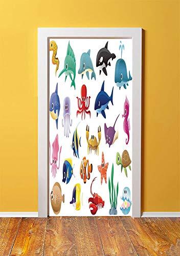 Whale 3D Door Sticker Wall Decals Mural Wallpaper,Variety of Marine Organisms Stingray Squid Sea Star Seahorse Sailfish Lobster Artwork,DIY Art Home Decor Poster Decoration 30.3x78.11999,Multicolor (Sea Ray Cruiser)