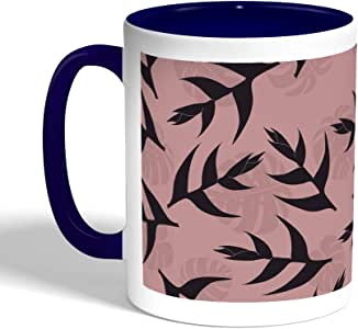 Printed Coffee Mug, Blue Color, tree leafs