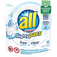 all Mighty Pacs Laundry Detergent, Free Clear for Sensitive Skin, Pouch, 22 Count