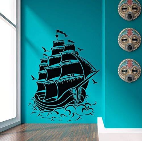 Pbldb 57X75Cm Nautical Sailboat Pirate Ship Wall Decal Wall Stickers Room Home Decor Vinyl Wall Art Wall Mural ()