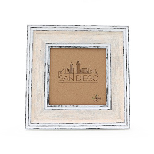 4x4 Picture Frame Cream - Distressed, Wall Mount or Desktop Display, Square Photo or Instagram by EcoHome