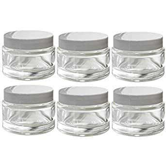 Amazoncom Clear Glass 2 oz 60 ml Thick Wall Balm Jars with White