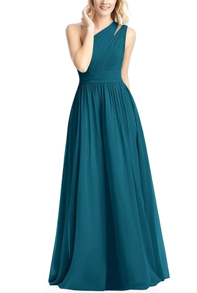 Teal RTTUTED Women's FullLength One Shoulder Bridesmaid Dress Evening Prom Gowns Skirt